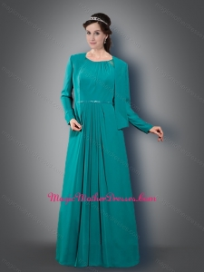 2016 Latest Empire Scoop Turquoise Mother of The Bride Dress with Belt