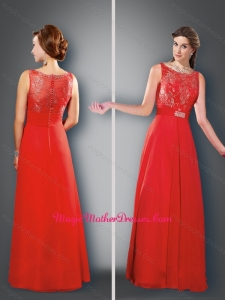 2016 Pretty Empire Bateau Red Mother of The Bride Dress with Beading
