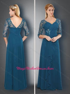 2016 Simple V Neck Half Sleeves Teal Mother of The Bride Dress with Appliques