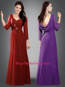 2016 Simple V Neck Wine Red Mother of The Bride Dress with Beading