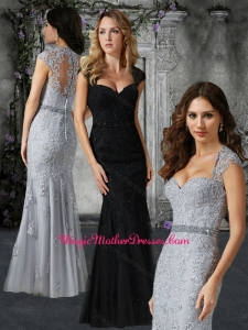 2016 Customized Cap Sleeves Mother of The Bride Dress with Beading and Appliques