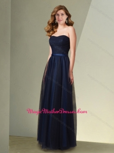 2016 Latest Empire Strapless Navy Blue Mother of The Bride Dress with Belt