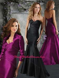 2016 Mermaid Satin Ruched Mother of The Bride Dress with Brush Train