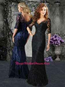 2016 Wonderful V Neck Half Sleeves Mother of The Bride Dress in Lace