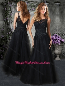 2016 Princess Scoop Black Mother of The Bride Dress with Beading and Appliques