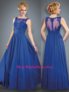 2016 See Through Back Royal Blue Mother of The Bride Dress with Beading and Appliques