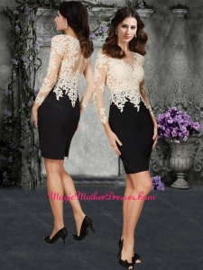 2016 See Through Column White and Black Mother of The Bride Dress with Appliques