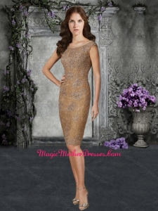 Column Bateau Laced Brown Mother of The Bride Dress