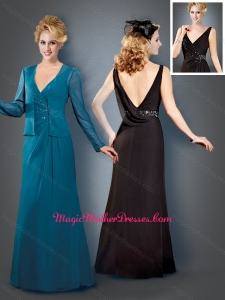 Column V Neck Backless Teal Mother of The Bride Dress with Beading
