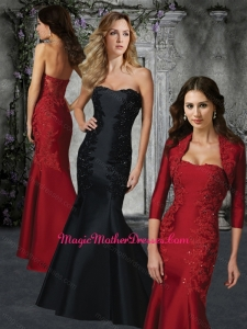 Mermaid Strapless Red Mother of The Bride Dress with Appliques and Beading