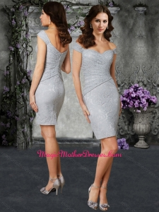 Off the Shoulder Column Silver Mother of The Bride Dress in Lace