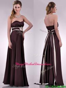 Beautiful Applique Decorated Waist Brown Mother Of The Bride Dress in Taffeta