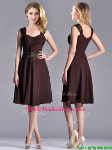 Best Selling Empire Ruched Brown Mother Of The BrideDress with Wide Straps
