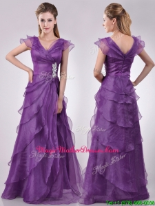 Low Price V Neck Eggplant Purple Mother Of The BrideDress with Beading and Ruffles