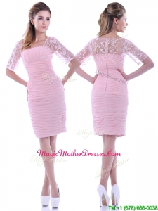 Elegant Ruched and Laced Square Baby Pink Mother Of The Bride Dress with Half Sleeves