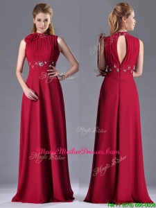 Empire High Neck Open Back Red Mother Of The Bride Dress with Beading and Hand Crafted
