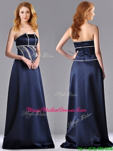 Fashionable Column Strapless Taffeta Long Mother Of The Bride Dress in Navy Blue