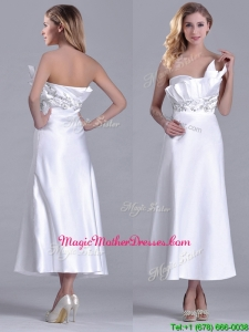 Latest Asymmetrical Side Zipper White Mother Of The Bride Dress in Tea Length