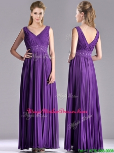 Luxurious V Neck Purple Mother Of The Bride Dress with Beading and Pleats