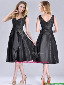 Popular Empire Black Tea Length Mother Of The Bride Dress with Ruching and Bowknot