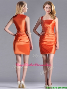 Lovely Column Square Side Zipper Short Mother Of The Bride Dress in Orange Red