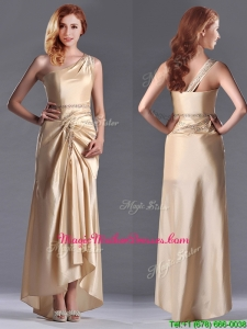 Champagne Ankle-length Beaded Side Zipper Mother Of The Bride Dress with One Shoulde