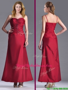 Exclusive Spaghetti Straps Wine Red Mother Of The Bride Dress with Beading and Ruching