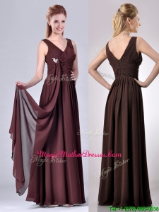 Simple Empire V Neck Chiffon Long Prom Dress in Brown