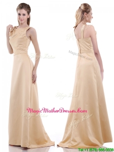 2016 Simple Column Scoop Bowknot Mother Of Groom Dress in Champagne