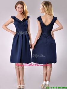 Beautiful V Neck Navy Blue Empire Mother Of Groom Dress with Cap Sleeves