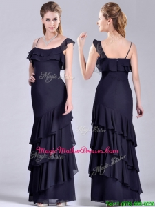 Best Selling Asymmetrical Ankle Length Mother Of Groom Dress with Ruffled Layers