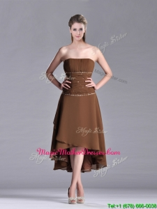 Exclusive Beaded Strapless High Low Brown Mother Of Groom Dress in Chiffon