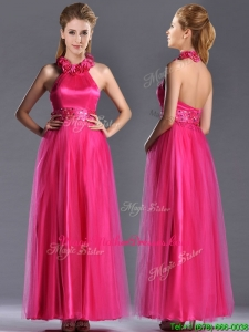 Exclusive Hot Pink Mother Of Groom Dress with Handcrafted Flowers Decorated Halter Top