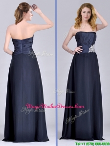 Exquisite Empire Satin Beaded Long Mother Of Groom Dress in Navy Blue