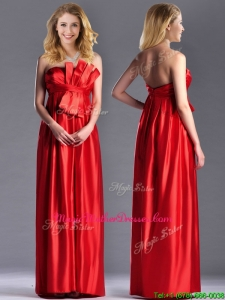Gorgeous Empire Red Long Mother Of Groom om Dress in Elastic Woven Satin