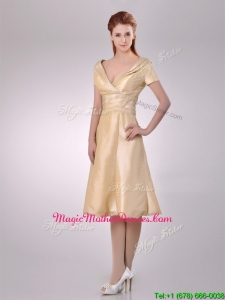Hot Sale V Neck Champagne Tea Length Mother Of Groom Dress with Short Sleeves