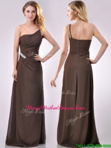 Low Price One Shoulder Taffeta Beaded Mother Of Groom Dress in Brown