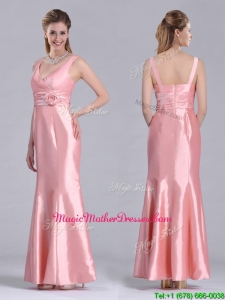 Modest V Neck Hand Crafted Flower Peach Mother Of Groom Dress in Ankle Length