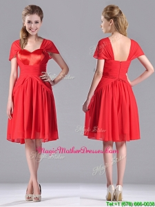 New Arrivals Empire Short Sleeves Chiffon Mother Of Groom Dress in Red