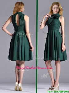 New High Neck Handmade Flower Dark Green Mother Of Groom Dress with Open Back