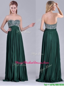 Popular Brush Train Beaded Bust and Pleated Mother Of Groom Dress in Hunter Green