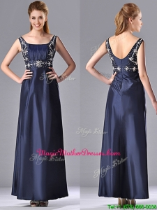 Simple Empire Square Taffeta Beading Long Mother Of Groom Dress in Navy Blue