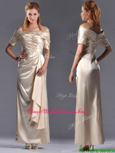 Column Off the Shoulder Ruching Unique Mother Of The Bride Dress in Champagne