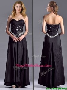 Discount Column Sweetheart Taffeta Black Vintage Mother Of The Bride Dress with Beading