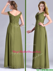 Discount Empire V Neck Chiffon Olive Green Vintage Mother Of The Bride Dress with Ruching