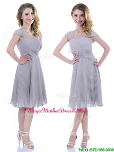 Elegant Cap Sleeves Tea Length Grey Vintage Mother Of The Bride Dress with Pleats