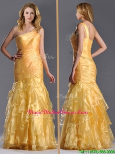 Elegant Mermaid One Shoulder Organza Ruffled Vintage Mother Of The Bride Dress in Gold