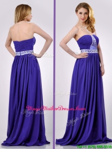 Empire Strapless Beaded Purple Long Vintage Mother Of The Bride Dress for Evening