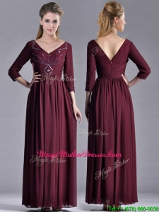 Latest Beaded V Neck Burgundy Vintage Mother Of The Bride Dress with Three Fourth Length Sleeves