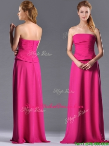 Latest Hot Pink Strapless Long Vintage Mother Of The Bride Dress with Zipper Up